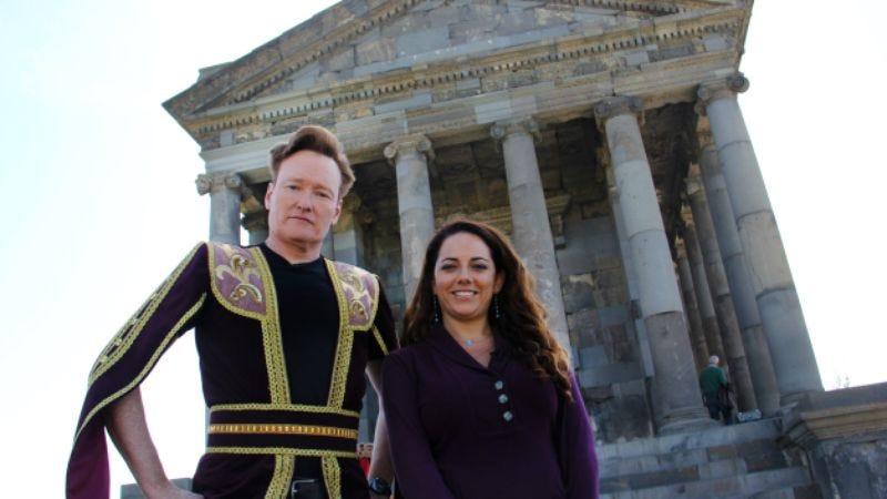 Conan O'Brien and his assistant, Sona Movsesian (Photo: TBS)