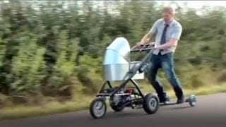 Illustration for article titled This Motorized Baby Carriage Goes 50 MPH