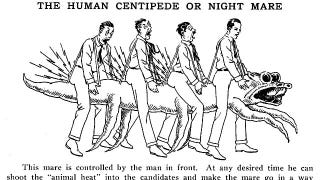 """Illustration for article titled Real-life """"Human Centipede"""" contraption used electric shocks to keep frat pledges in line"""
