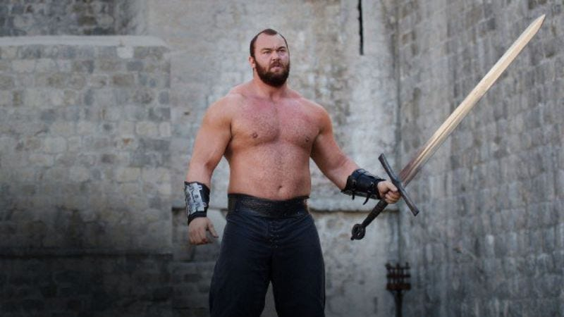 Illustration for article titled Game Of Thrones' The Mountain breaks keg-toss world record, would rule his frat