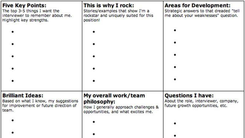interview worksheet template
