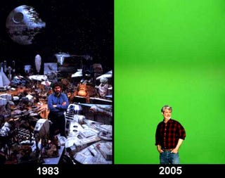 Illustration for article titled George Lucas Then vs George Lucas Now