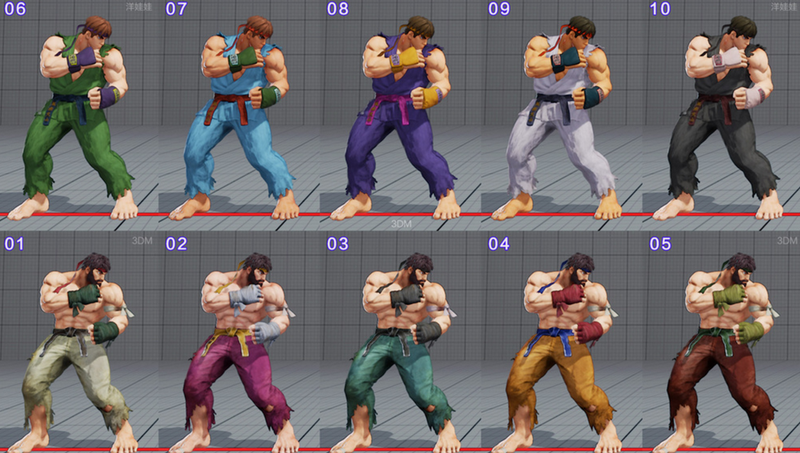 Illustration for article titled All of Street Fighter V's Costumes So Far, In Every Color
