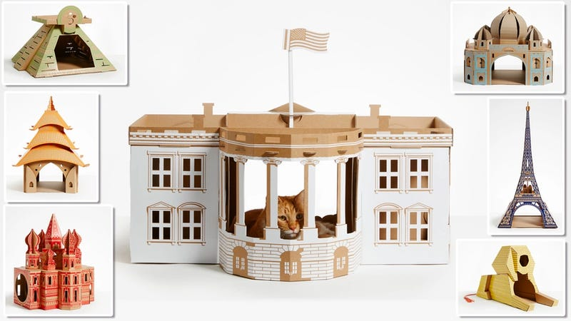 Illustration for article titled How Long Will It Take Your Furball to Shred One of These Incredible Cardboard Cathouses?