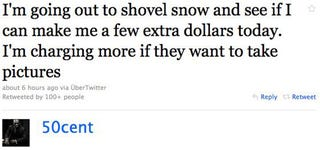 Illustration for article titled 50 Cent Hustles During Snowpocalypse