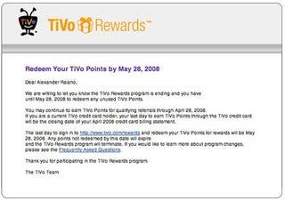 Illustration for article titled TiVo Rewards Program Ending May 28th