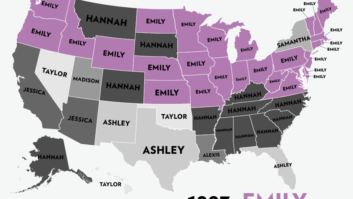 Map: Six Decades of the Most Popular Names for Girls, State