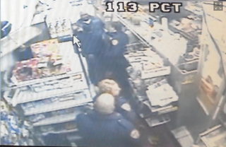 Video shows an encounter between Stefon Luckey and police officers in a Queens deli.YouTube