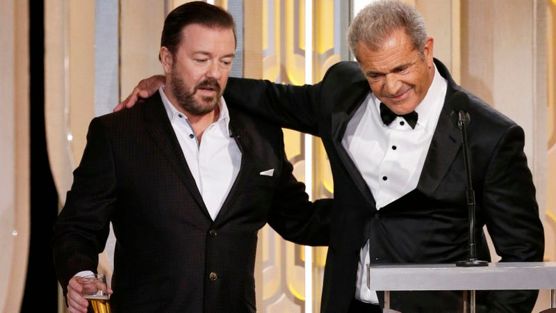 Ricky Gervais and Mel Gibson at the 73rd Annual Golden Globe Awards