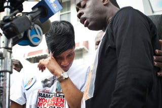 Constance Malcolm, the mother of Ramarley Graham, wipes away tears while attempting to speak to members of the media during a vigil for Ramarley Graham March 22, 2012, in the Bronx borough of New York City.Andrew Burton/Getty Images