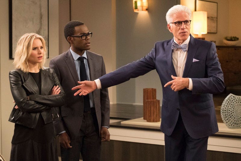 Kristen Bell, William Jackson Harper, and Ted Danson star in The Good Place (Photo: Colleen Hayes/NBC)