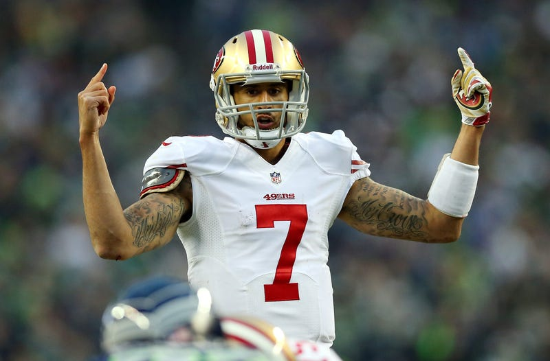 Quarterback Colin Kaepernick of the San Francisco 49ers during a game Jan. 19, 2014, in SeattleRonald Martinez/Getty Images