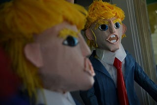 Donald Trump piñatas are displayed in the window at Pinata Art on Aug. 28, 2015, in San Francisco. (Justin Sullivan/Getty Images)