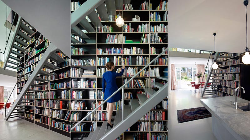 What A Wonderful And Perfectly Executed Idea: To Build An Entire  Four Story High House Around A Gigantic Bookshelf That Goes Across ...