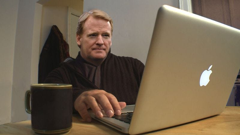 Illustration for article titled Frustrated Roger Goodell Trying To Find Live Stream Of Bears, Packers Game