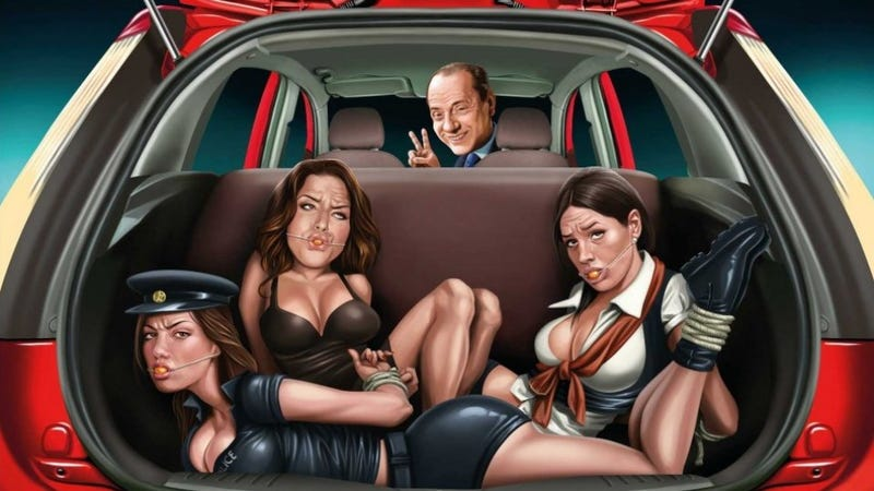 Illustration for article titled Unauthorized Ford Ads Show Berlusconi And Bound, Gagged 'Bunga-Bunga' Girls