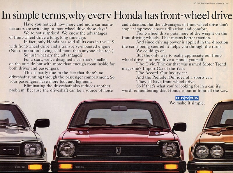 Illustration for article titled Why every Honda has FWD