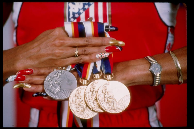 View of Florence Griffith-Joyner''s medals won at the Summer Olympic Games in Seoul, South Korea.