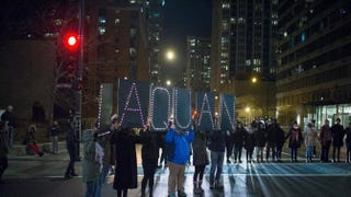 Demonstrators march through downtown Chicago following the Nov. 24, 2015, release of a video showing Chicago Police Officer Jason Van Dyke shooting and killing Laquan McDonald. Van Dyke has now been charged with first-degree murder in the Oct. 20, 2014, shooting in which the 17-year-old Laquan was shot 16 times.Scott Olson/Getty Images