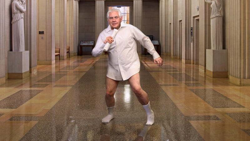 Shortly after finishing his Bob Seger number, Tillerson reportedly dashed into the John Quincy Adams State Drawing Room, hopped on the desk where the Treaty of Paris was signed, and struck several power chords on a flagpole.