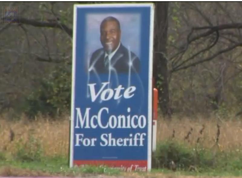 LeRoy McConico's vandalized campaign signFox4KC