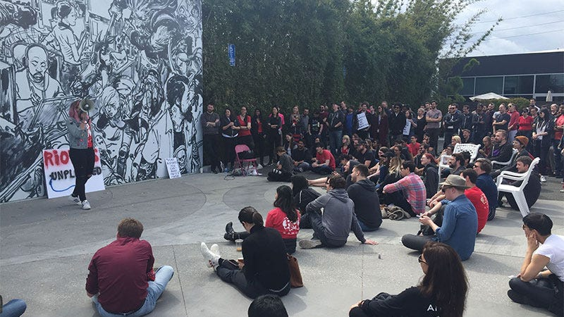Illustration for article titled Over 150 Riot employees go out to protest forced arbitration and sexist culture [Updated]