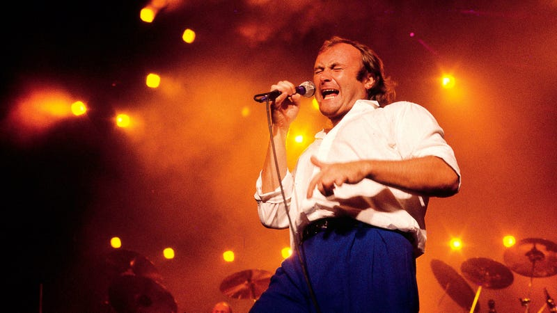 "Phil Collins performing in Australia in 1985, a show that probably included ""Sussudio."" (Photo: Bob King/Redferns/Getty Images)"