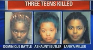 Dominique Battle, Ashaunti Butler and Laniya Miller, all of whom drowned in a stolen carBay News 9 screenshot