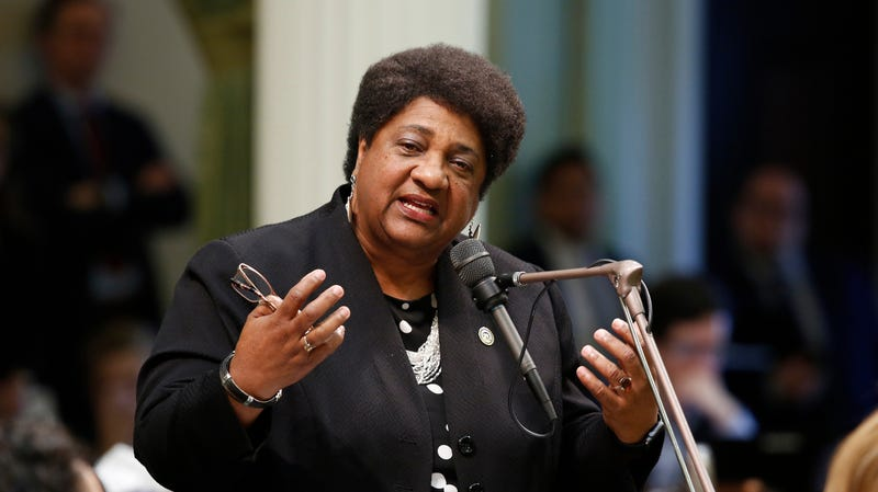 Assemblywoman Shirley Weber (D-San Diego) urges lawmakers to approve her police use-of-force measure May 29, 2019, in Sacramento, Calif.