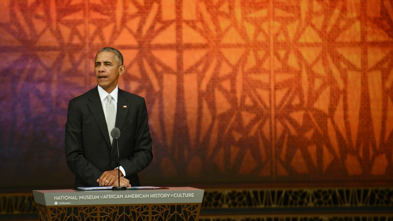 Barack Obama at the dedication of the National Museum of African American History and Culture. Image via Getty.