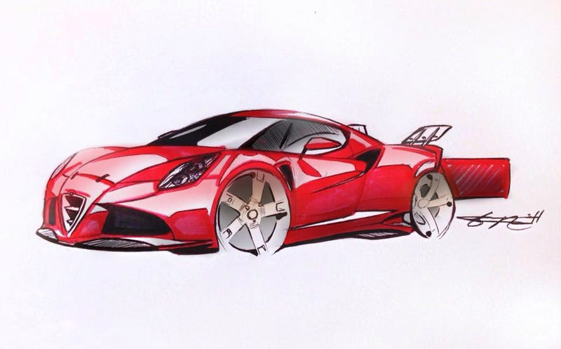 Illustration for article titled Alfa Romeo 4C-V8 Design Study