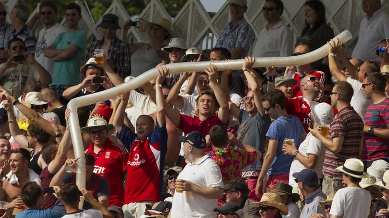 Illustration for article titled Check Out This Frickin' Beer-Cup Tower English Cricket Fans Built