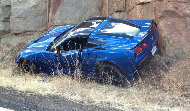 Illustration for article titled This Is The First 2014 Corvette To Crash On A Public Road (Updated)