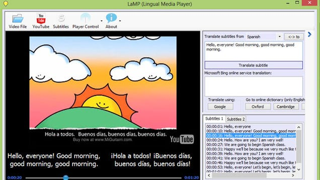 lamp teaches you a foreign language via movie and youtube