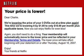 Illustration for article titled UPDATED: Netflix Lowers Prices for DVD Rentals by $1 ... Again