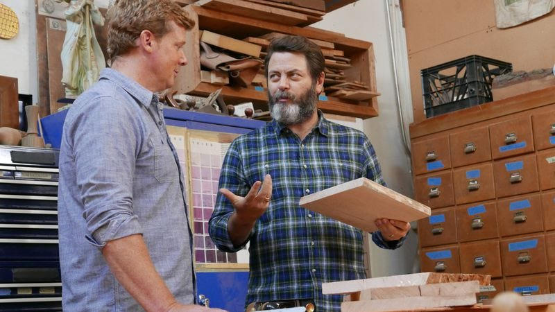 Just two guys talking about how much they love wood (Photo: Sarah Violette)