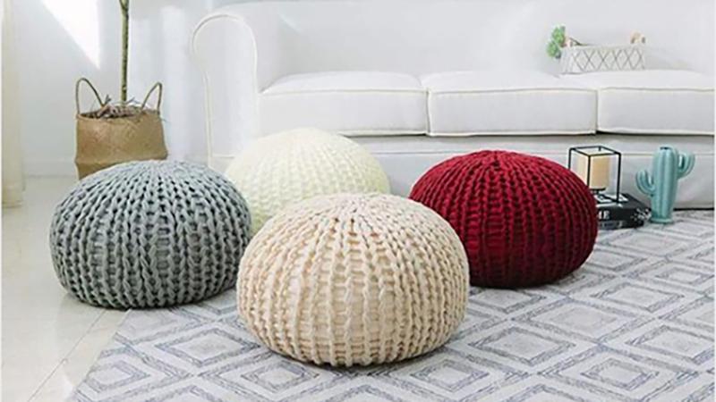 Ultra Plush Chunky Cable Knit Decorative Pouf | $34 | Daily Steals | Promo code KINJAPOUF