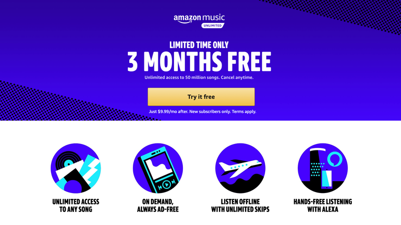 3 Months Amazon Music Unlimited   FREE   Amazon   New members only