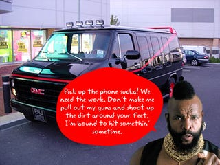 Illustration for article titled Hire the A-Team Limo to Carry Around Your Lazy Behind...Sucka!