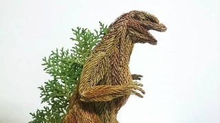 Illustration for article titled Godzilla Made from Pine Tree Branches Is a Lovely Fire Hazard