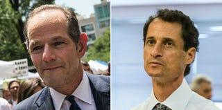 Eliot Spitzer (Andrew Burton/Getty Images); Anthony Weiner (Andrew Burton/Getty Images)