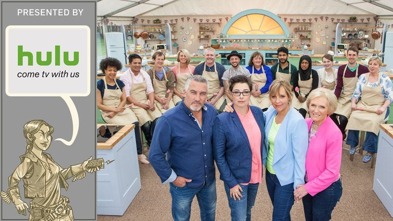 The Great British Bake Off: Does Paul Hollywood ever not look like he's silently criticizing your sponge? (Illustration: Nick Wanserski)