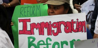 Immigration activists in New York City in May 2010 (Spencer Platt/Getty Images News)