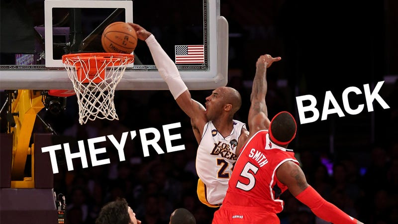 Illustration for article titled Kobe Dunks Like Kobe Hasn't Dunked In Years, And The Lakers Are At .500