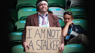 """Illustration for article titled Sharapova Stalker's Homemade """"I Am Not A Stalker"""" Sign May Not Convey Intended Message"""