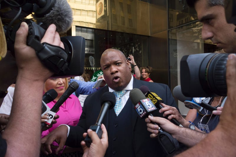 South Carolina pastor the Rev. Mark Burns talks with reporters outside Trump Tower in New York City after attending a meeting with Republican presidential candidate Donald Trump on Aug. 25, 2016.DON EMMERT/AFP/Getty Images