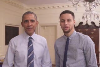 President Barack Obama and Golden State Warrior Steph Curry join forces to tout the values of mentorship. YouTube Screenshot