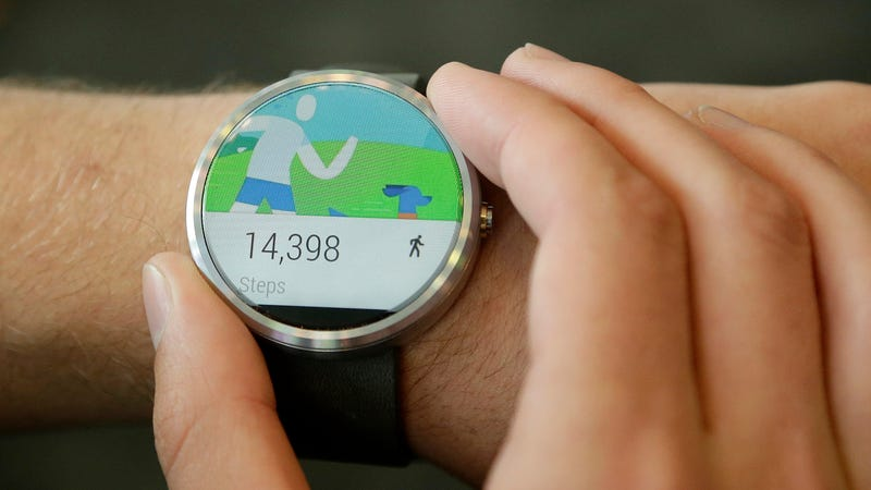There's no word on a Google smartwatch might look like, but here's a Moto 360 running Android Wear, Wear OS' predecessor, in 2014.