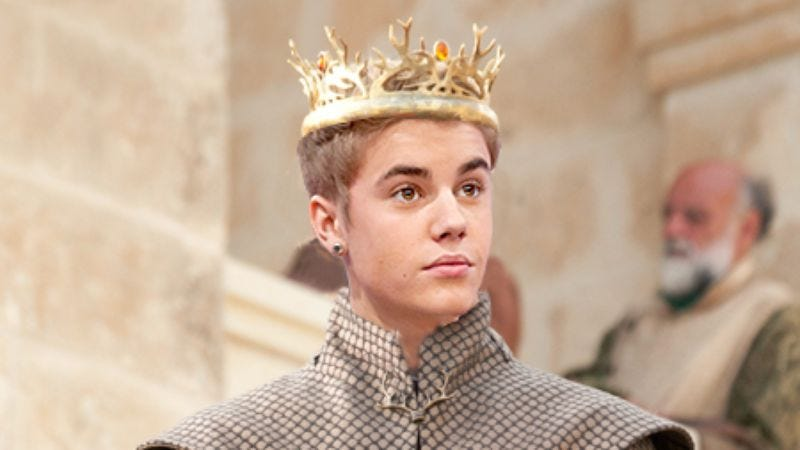 """Illustration for article titled Behold the Joffrey Bieber Tumblr, """"where fiction's biggest brat and real life's biggest brat become one"""""""