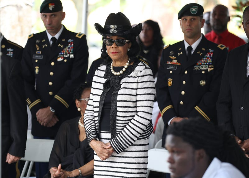 Rep. Frederica Wilson (D-Fla.) attends the burial service for U.S. Army Sgt. La David Johnson at the Memorial Gardens East cemetery on Oct. 21, 2017, in Hollywood, Fla.  (Joe Raedle/Getty Images)